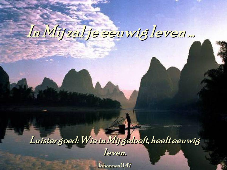 Luister goed: Wie in Mij gelooft, heeft eeuwig leven.