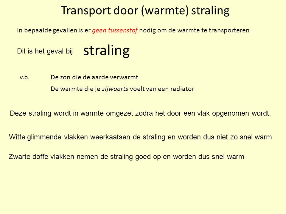 Transport door (warmte) straling