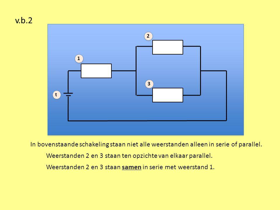 v.b.2 1. 2. 3. t. In bovenstaande schakeling staan niet alle weerstanden alleen in serie of parallel.
