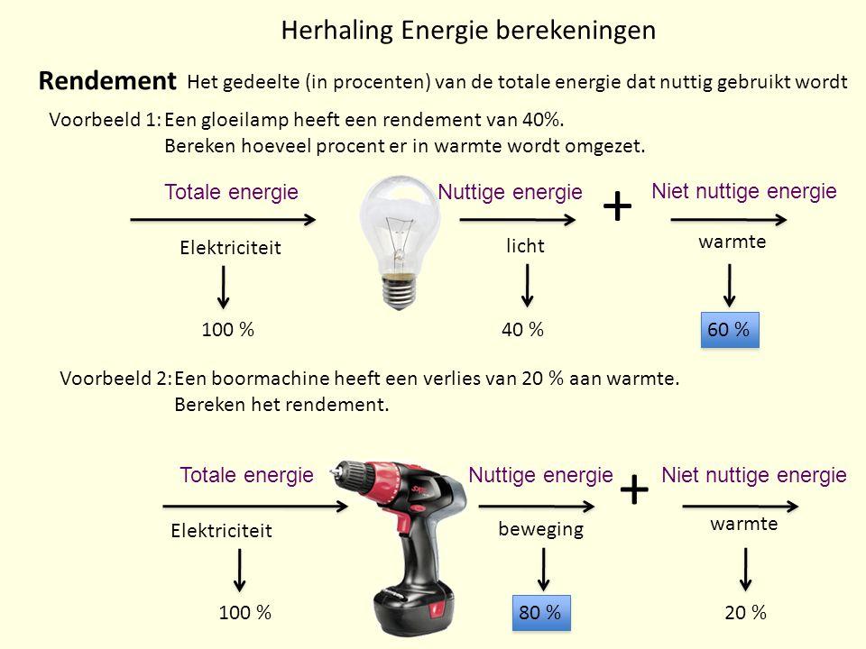 Herhaling Energie berekeningen