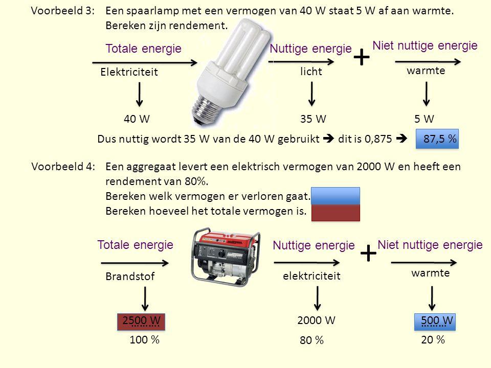 Voorbeeld 3: Een spaarlamp met een vermogen van 40 W staat 5 W af aan warmte. Bereken zijn rendement.