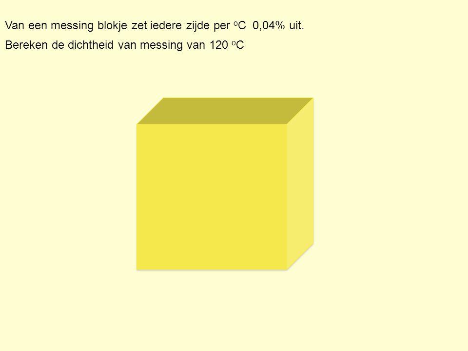 Van een messing blokje zet iedere zijde per oC 0,04% uit.