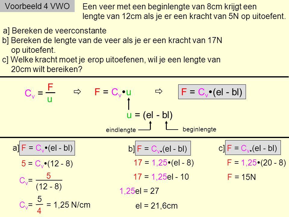Cv = F u  F = Cvu  F = Cv(el - bl) u = (el - bl) Voorbeeld 4 VWO