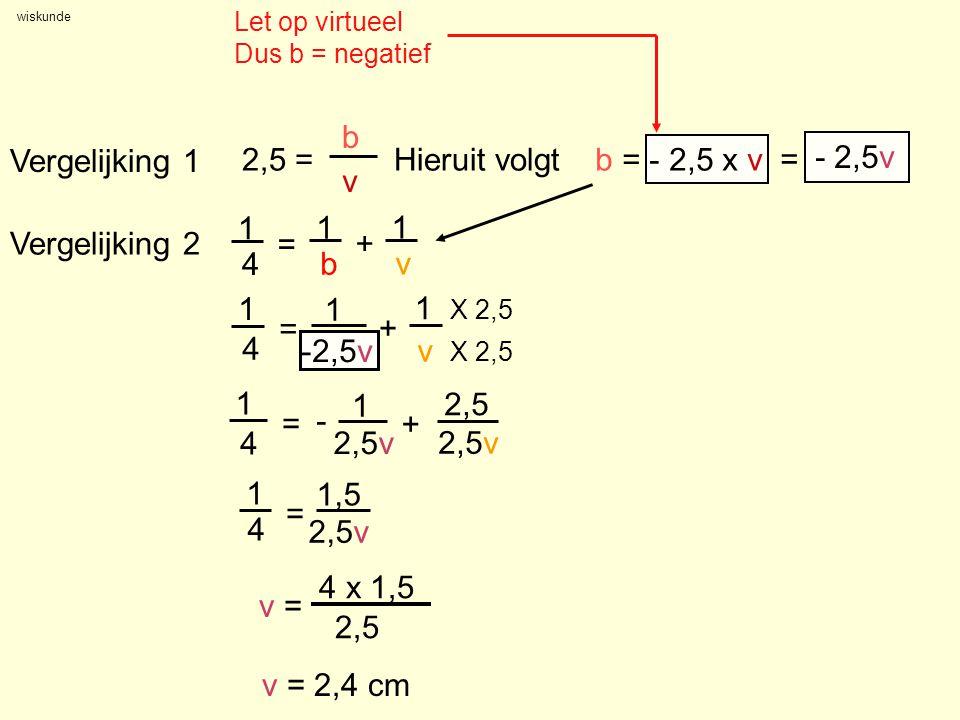 2,5 = b v Vergelijking 1 Hieruit volgt b = - 2,5 x v = - 2,5v 1 4 = b