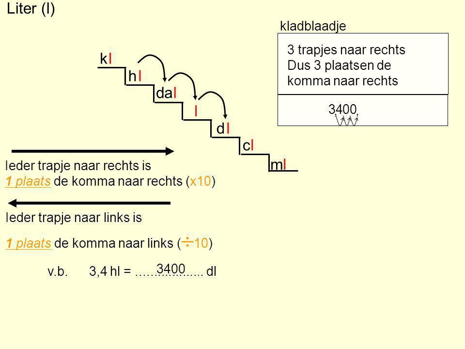 Liter (l) k l h l da l l d l c l m l kladblaadje 3 trapjes naar rechts