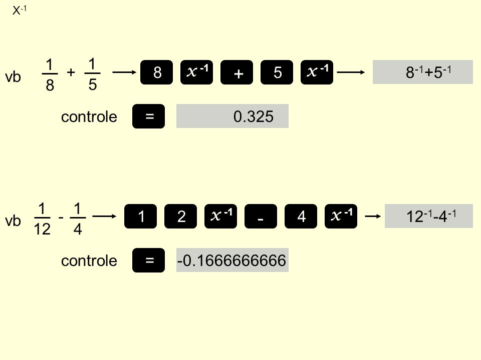 + - vb 1 8 + 5 x -1 8 5 8-1+5-1 = controle 0.325 vb 1 12 - 4 4 x -1 1