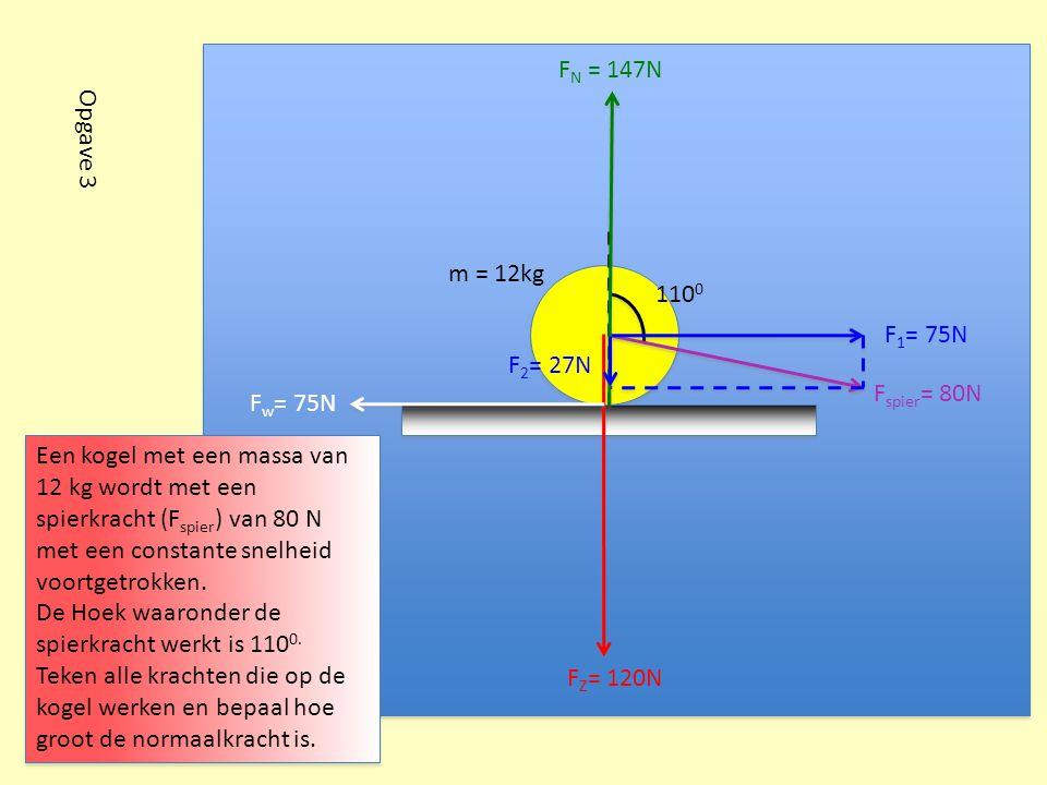FN = 147N Opgave 3. m = 12kg. 1100. F1= 75N. F2= 27N. Fspier= 80N. Fw= 75N.