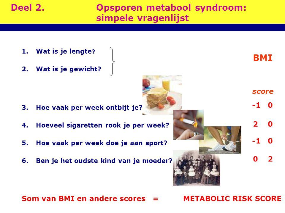 Deel 2. Opsporen metabool syndroom: simpele vragenlijst