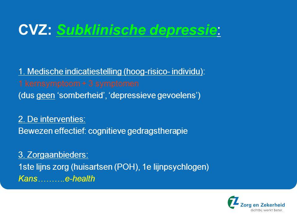 CVZ: Subklinische depressie: