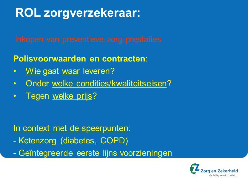 ROL zorgverzekeraar: inkopen van preventieve-zorg-prestaties