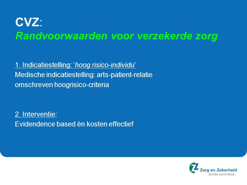 CVZ: Randvoorwaarden voor verzekerde zorg