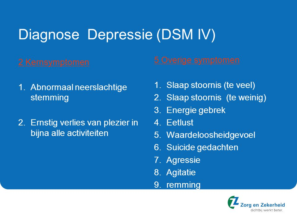 Diagnose Depressie (DSM IV)