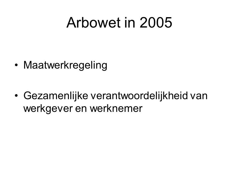 Arbowet in 2005 Maatwerkregeling