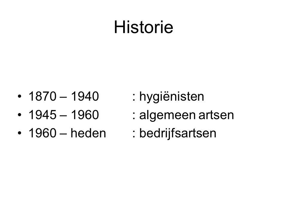 Historie 1870 – 1940 : hygiënisten 1945 – 1960 : algemeen artsen