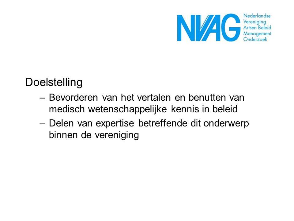 Doelstelling. Bevorderen van het vertalen en benutten van medisch wetenschappelijke kennis in beleid.