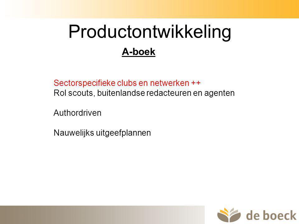 Productontwikkeling A-boek Sectorspecifieke clubs en netwerken ++