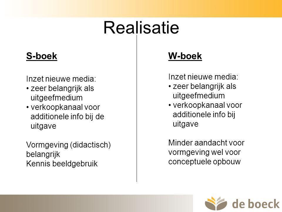 Realisatie S-boek W-boek Inzet nieuwe media: Inzet nieuwe media: