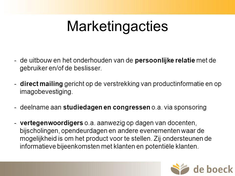 Marketingacties - de uitbouw en het onderhouden van de persoonlijke relatie met de. gebruiker en/of de beslisser.
