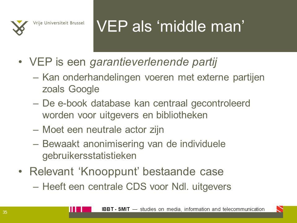 VEP als 'middle man' VEP is een garantieverlenende partij