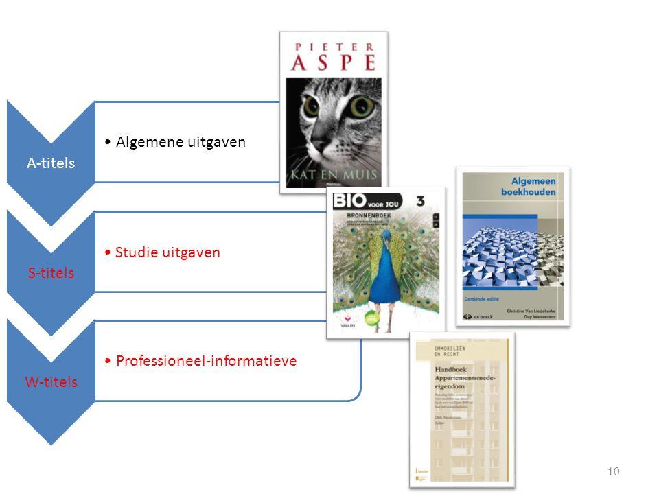 A-titels Algemene uitgaven S-titels Studie uitgaven W-titels Professioneel-informatieve