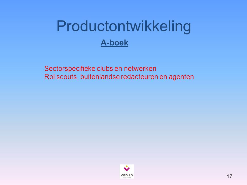 Productontwikkeling A-boek Sectorspecifieke clubs en netwerken