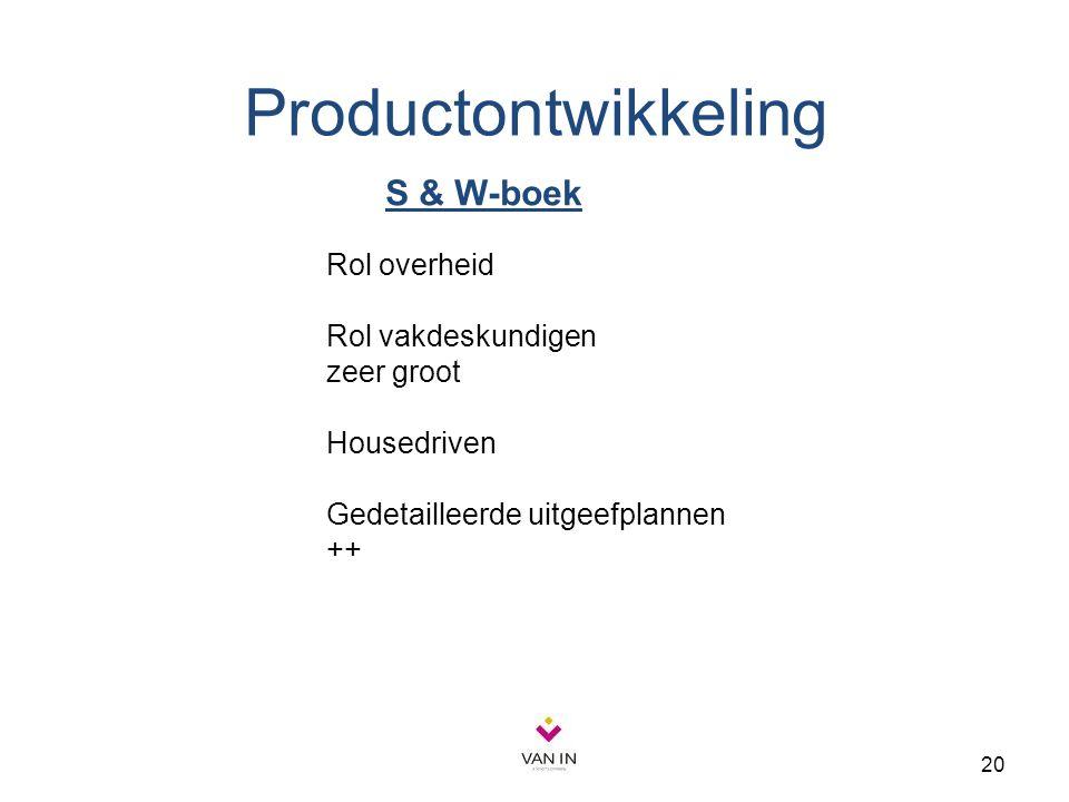 Productontwikkeling S & W-boek Rol overheid Rol vakdeskundigen