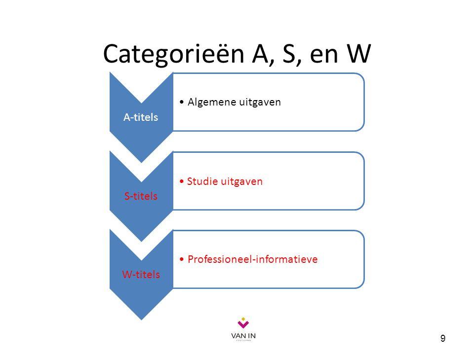 Categorieën A, S, en W Algemene uitgaven A-titels Studie uitgaven
