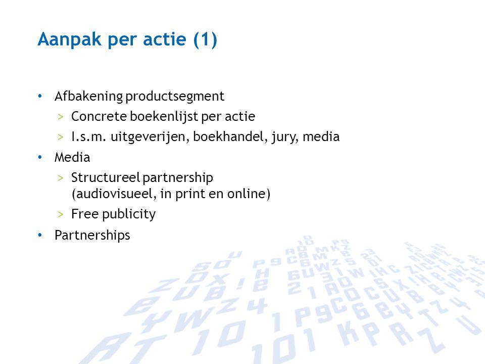 Aanpak per actie (1) Afbakening productsegment