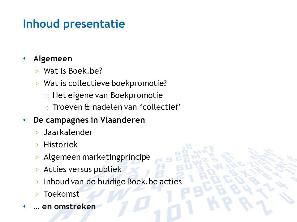 Inhoud presentatie Algemeen Wat is Boek.be