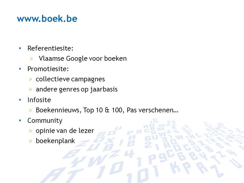 www.boek.be Referentiesite: Vlaamse Google voor boeken Promotiesite: