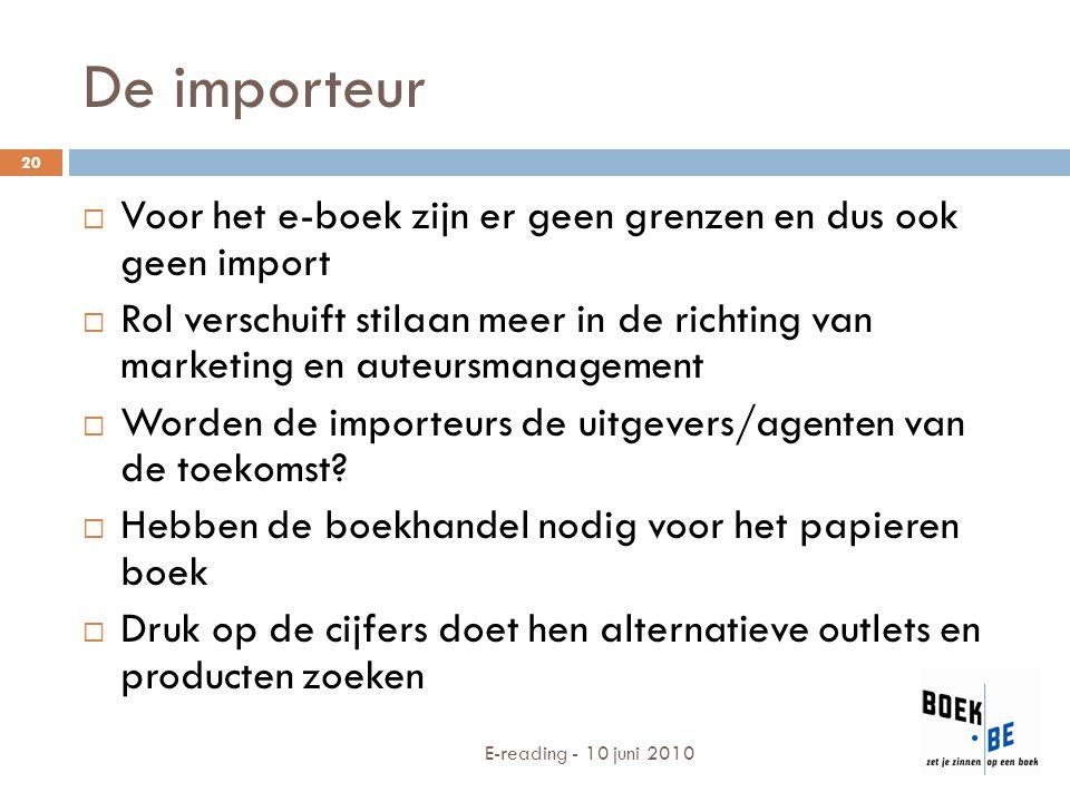 De importeur Voor het e-boek zijn er geen grenzen en dus ook geen import.