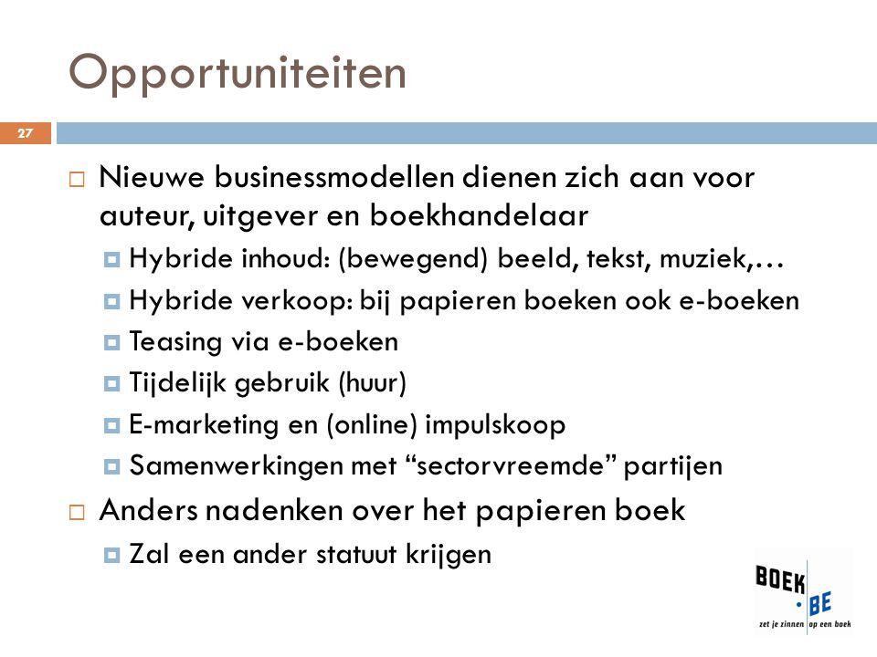 Opportuniteiten Nieuwe businessmodellen dienen zich aan voor auteur, uitgever en boekhandelaar. Hybride inhoud: (bewegend) beeld, tekst, muziek,…
