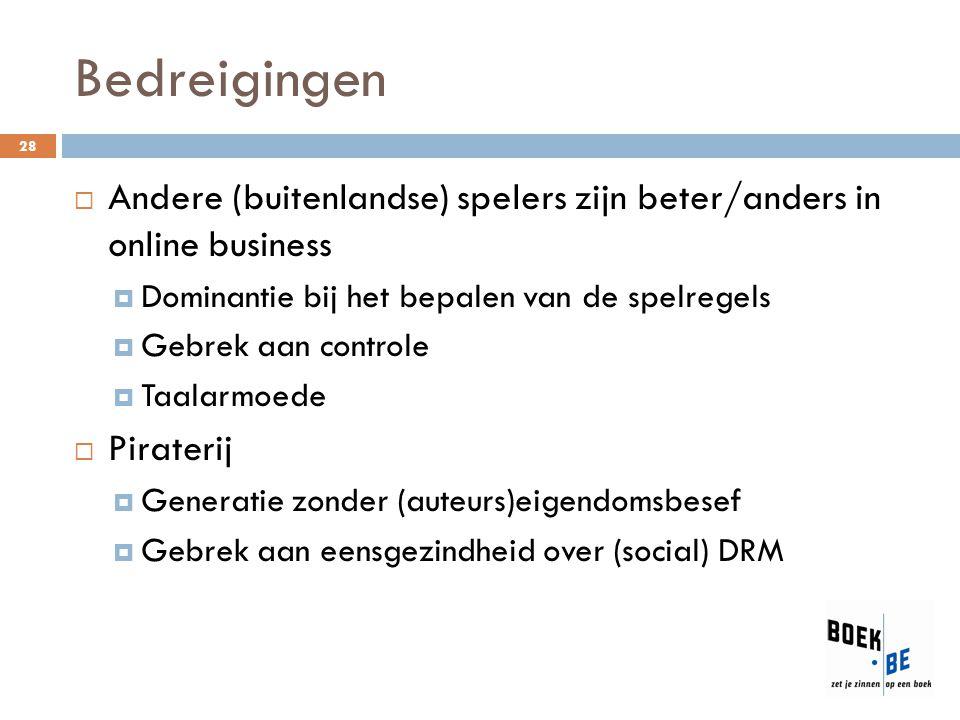 Bedreigingen Andere (buitenlandse) spelers zijn beter/anders in online business. Dominantie bij het bepalen van de spelregels.