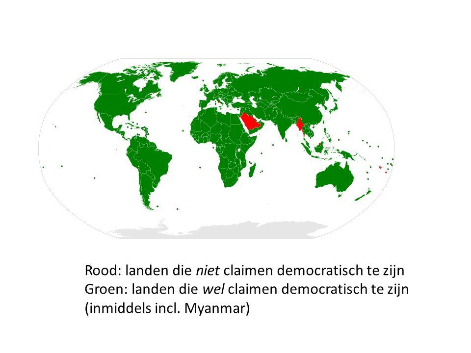 Rood: landen die niet claimen democratisch te zijn