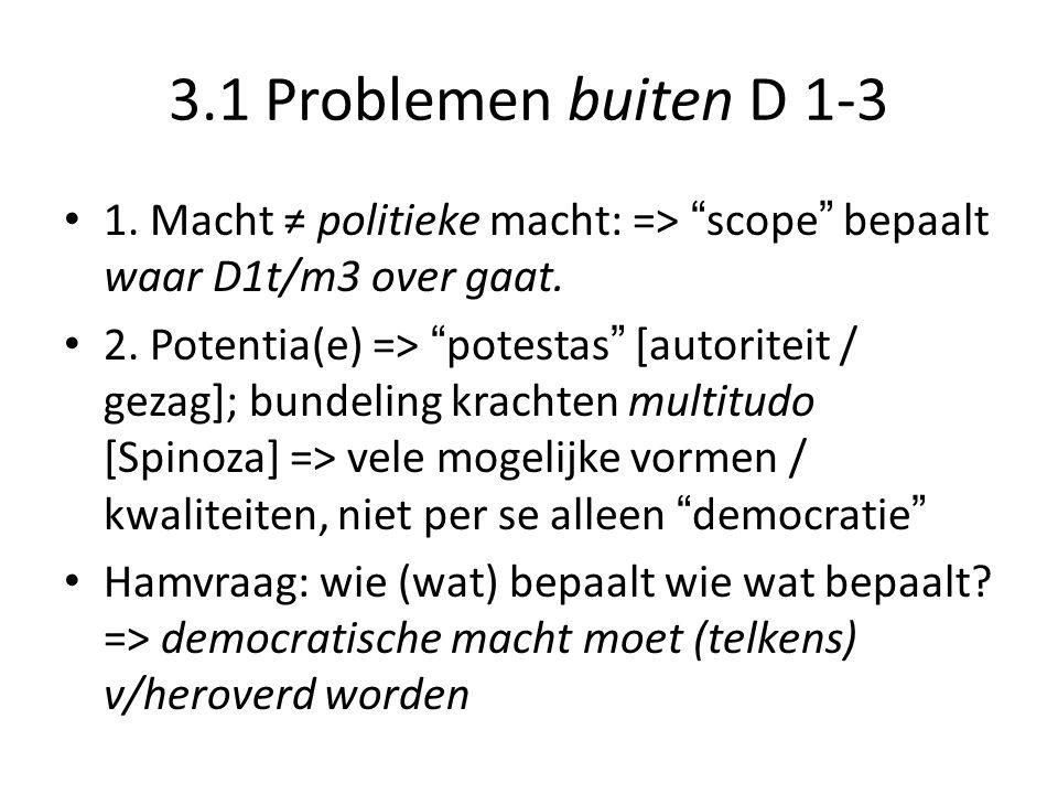 3.1 Problemen buiten D 1-3 1. Macht ≠ politieke macht: => scope bepaalt waar D1t/m3 over gaat.