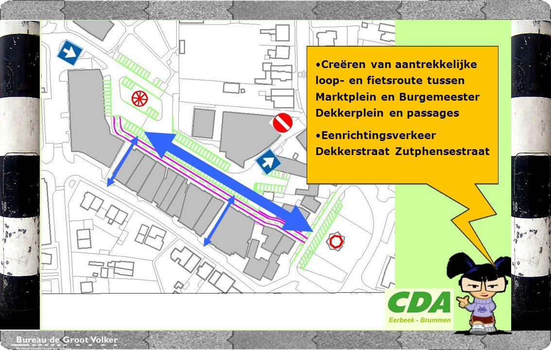 CENTRUMPLAN BRUMMEN Creëren van aantrekkelijke loop- en fietsroute tussen Marktplein en Burgemeester Dekkerplein en passages.
