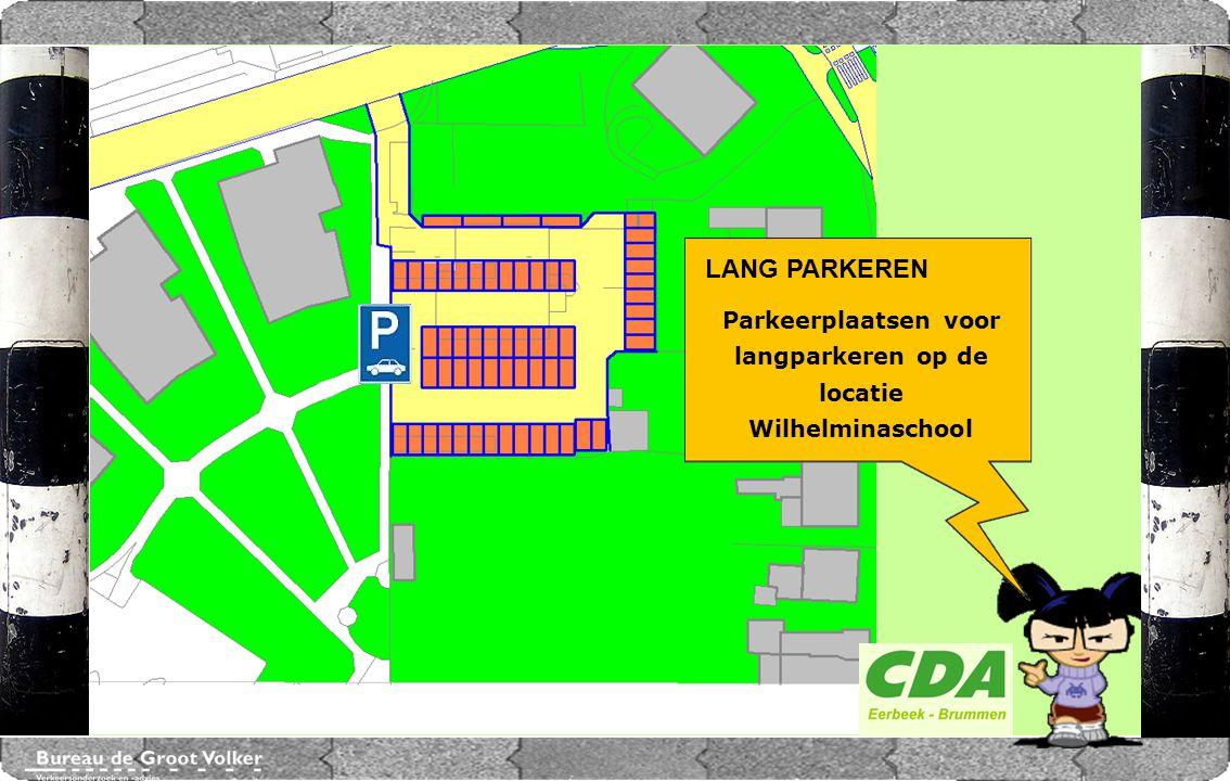 Parkeerplaatsen voor langparkeren op de locatie Wilhelminaschool