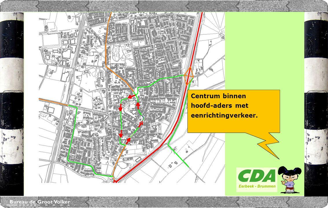 CENTRUMPLAN BRUMMEN Centrum binnen hoofd-aders met eenrichtingverkeer.