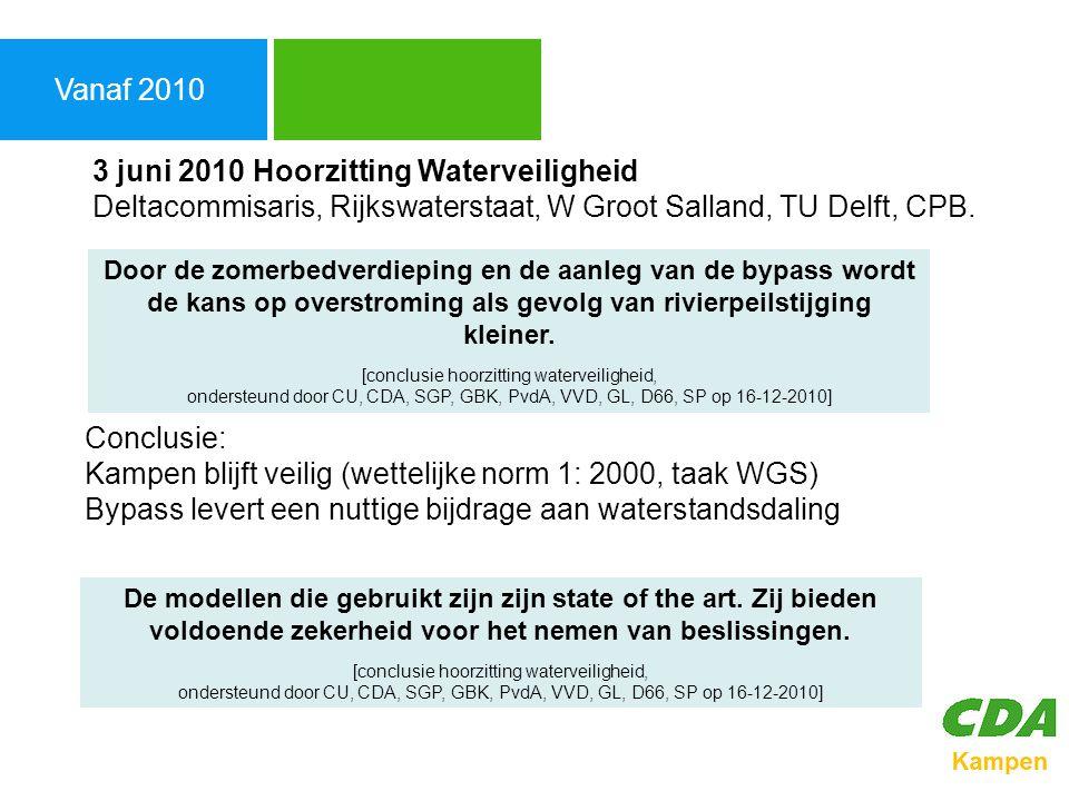 Agenda Vanaf 2010. 3 juni 2010 Hoorzitting Waterveiligheid Deltacommisaris, Rijkswaterstaat, W Groot Salland, TU Delft, CPB.