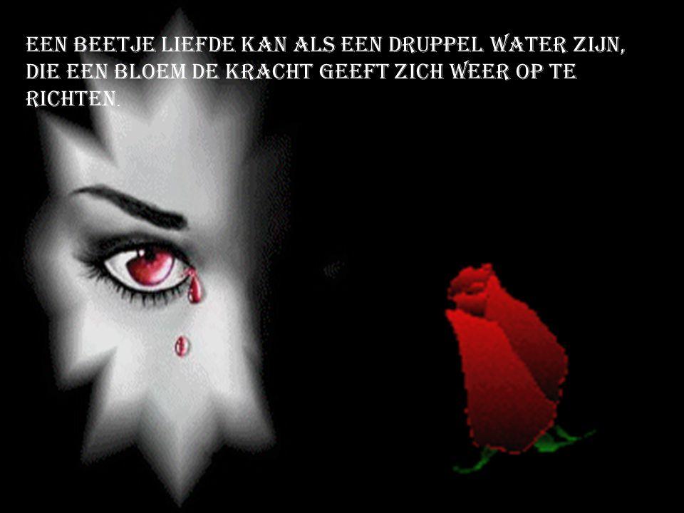Een beetje liefde kan als een druppel water zijn,