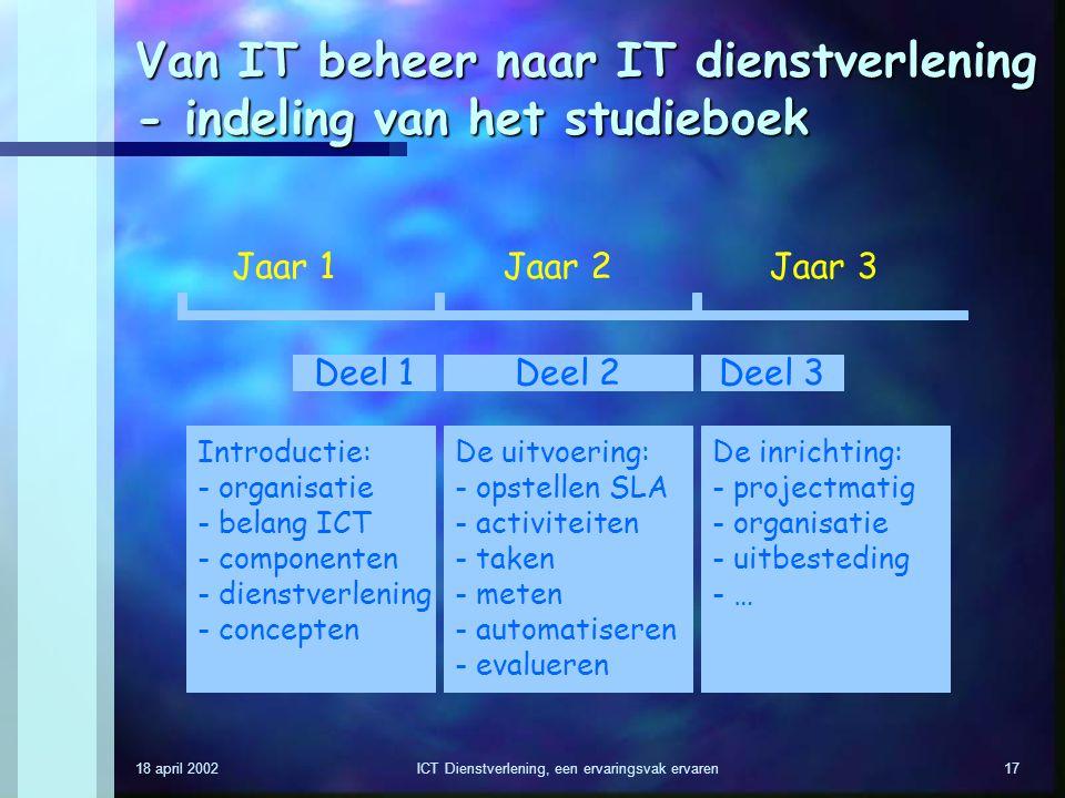 Van IT beheer naar IT dienstverlening - indeling van het studieboek