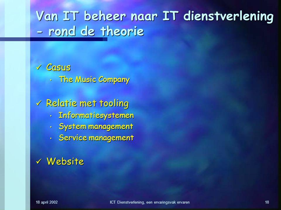 Van IT beheer naar IT dienstverlening - rond de theorie