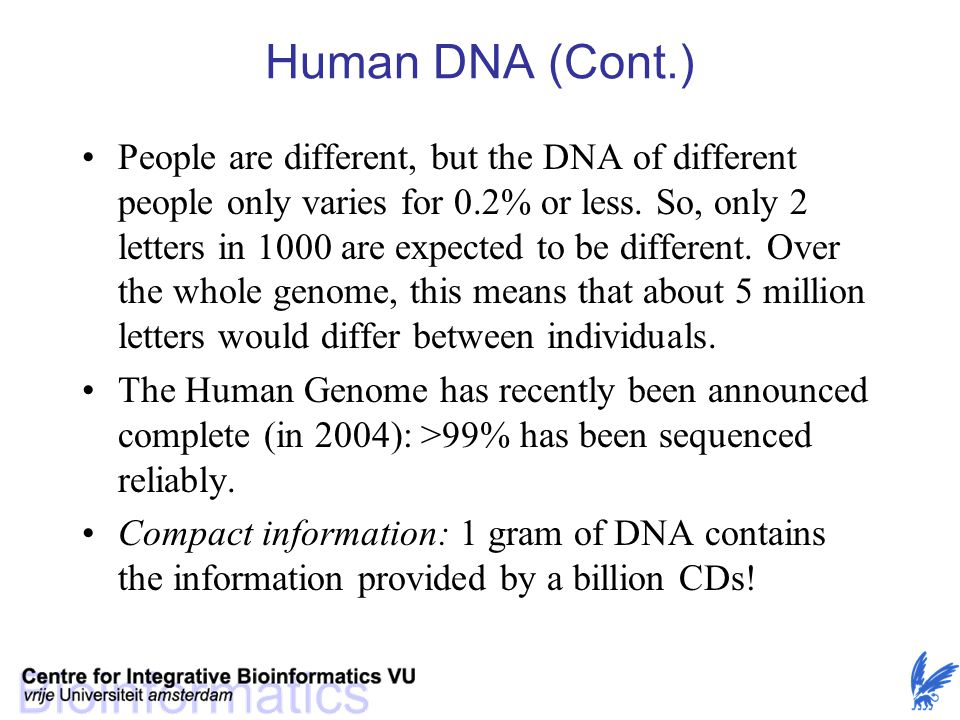 Human DNA (Cont.)