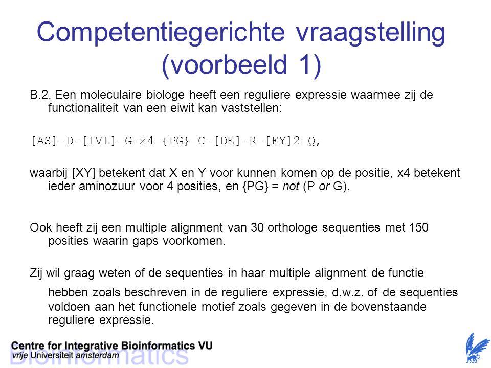 Competentiegerichte vraagstelling (voorbeeld 1)