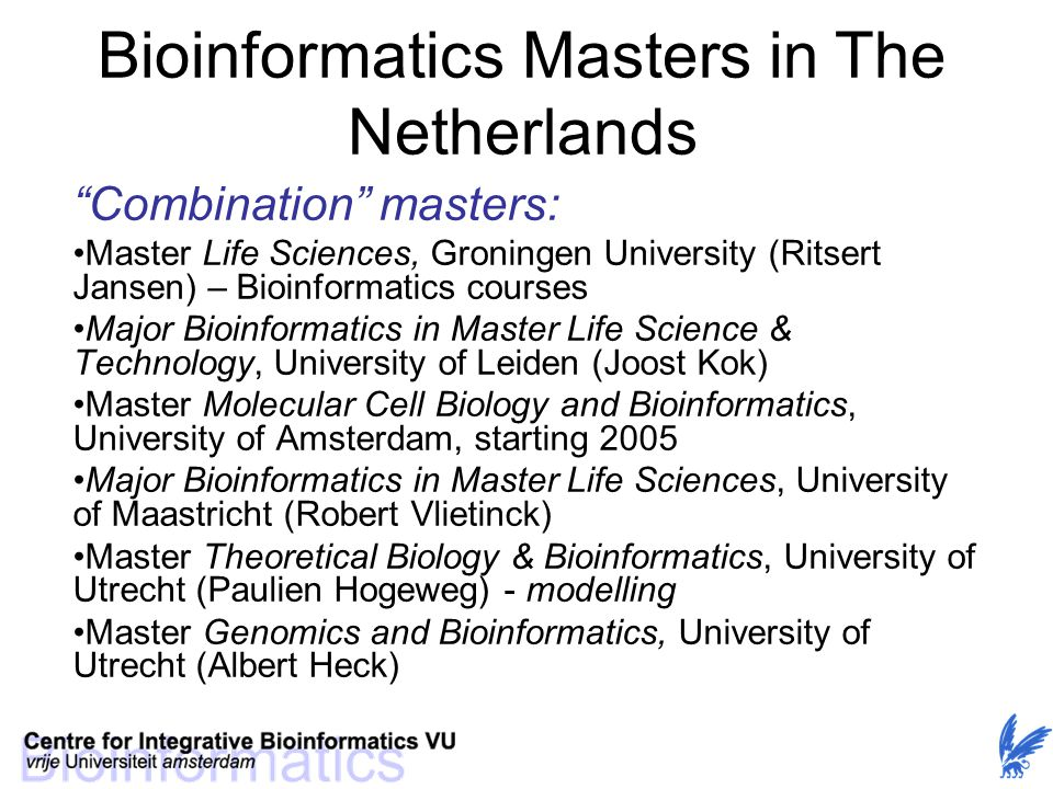 Bioinformatics Masters in The Netherlands