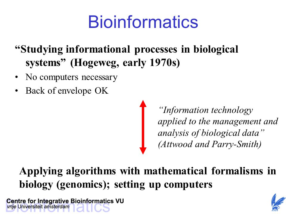 Bioinformatics Studying informational processes in biological systems (Hogeweg, early 1970s) No computers necessary.
