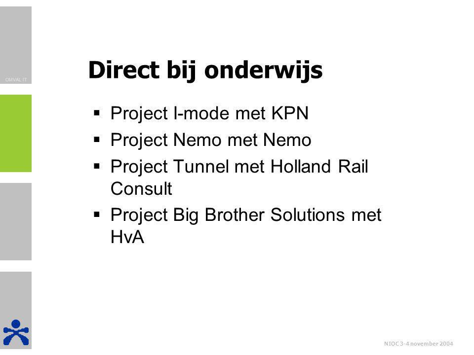Direct bij onderwijs Project I-mode met KPN Project Nemo met Nemo