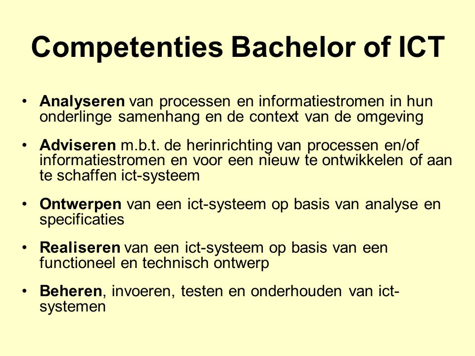 Competenties Bachelor of ICT