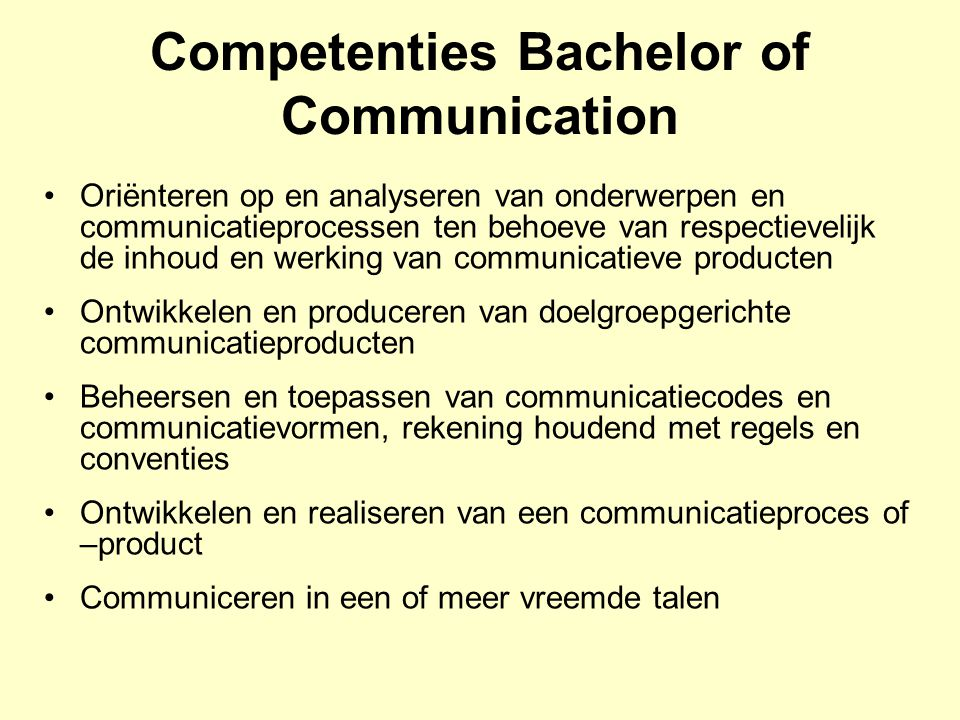 Competenties Bachelor of Communication