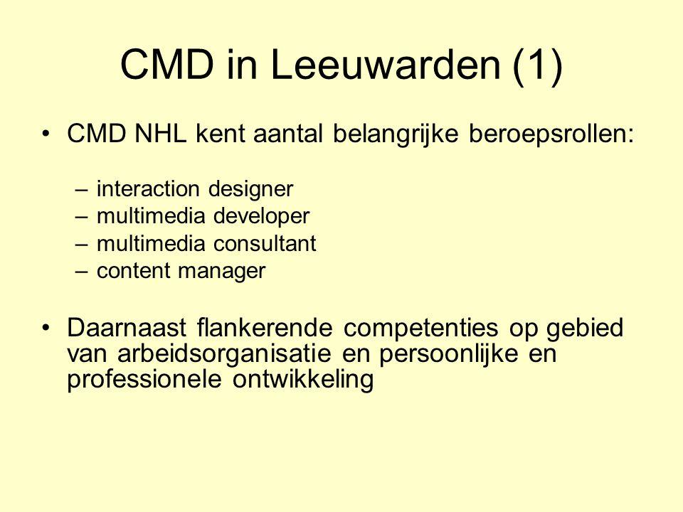 CMD in Leeuwarden (1) CMD NHL kent aantal belangrijke beroepsrollen: